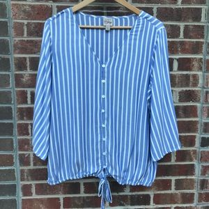 COMO Vintage Blue & white Striped V Neck Top Sz L